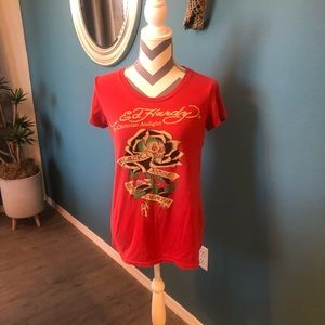 Ed Hardy printed knit top size small